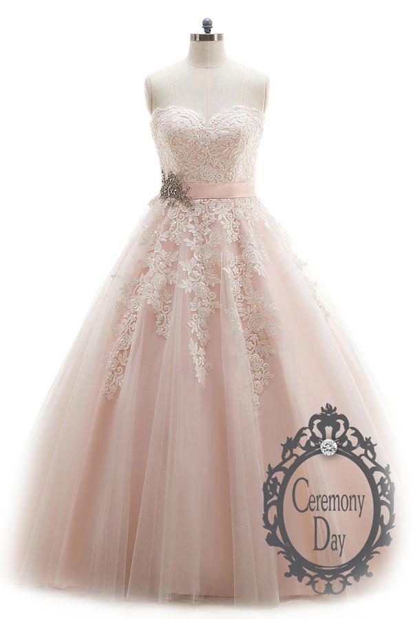 Robe de mariée rose dentelle Ceremony Day